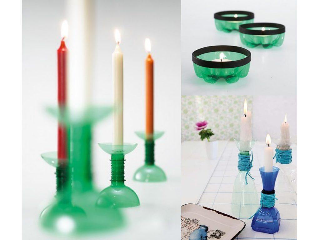 candelabros bonitos hechos con botellas de plástico
