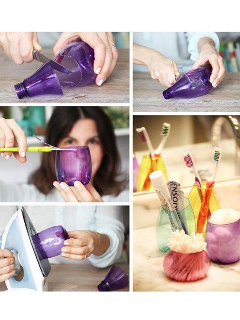 recipiente para cepillo de dientes hecho con una botella de plástico