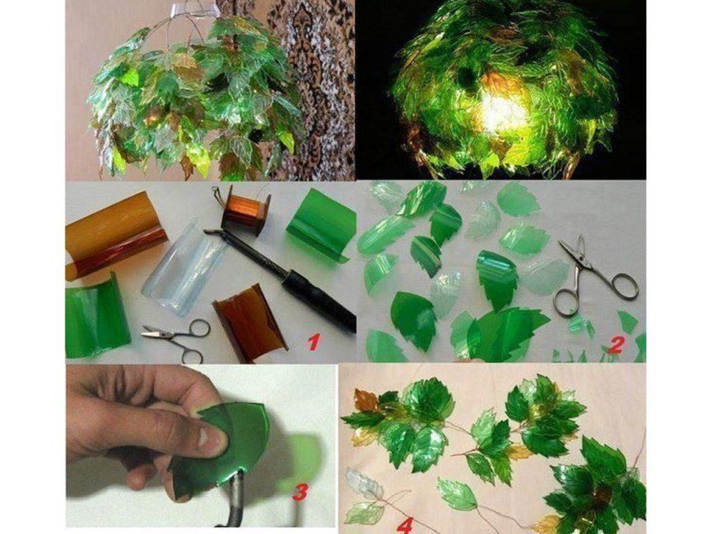 como hacer una lámpara con botellas de plástico