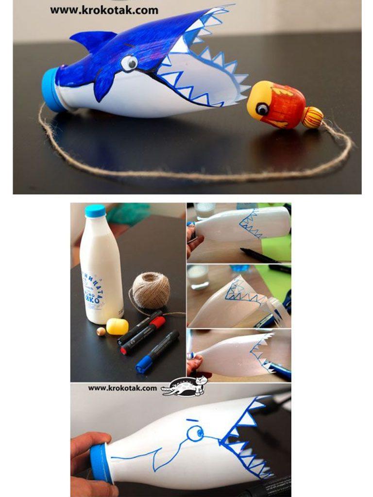 tiburón hecho con botella de plástico