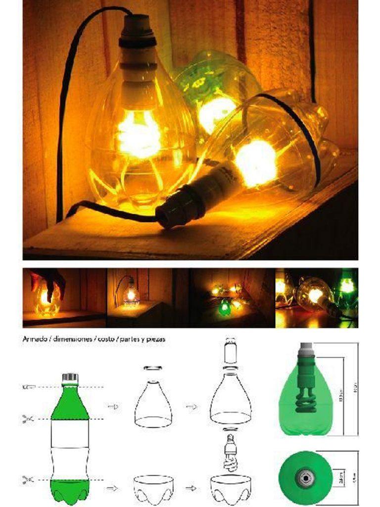 lámpara de mesa con botella de plástico