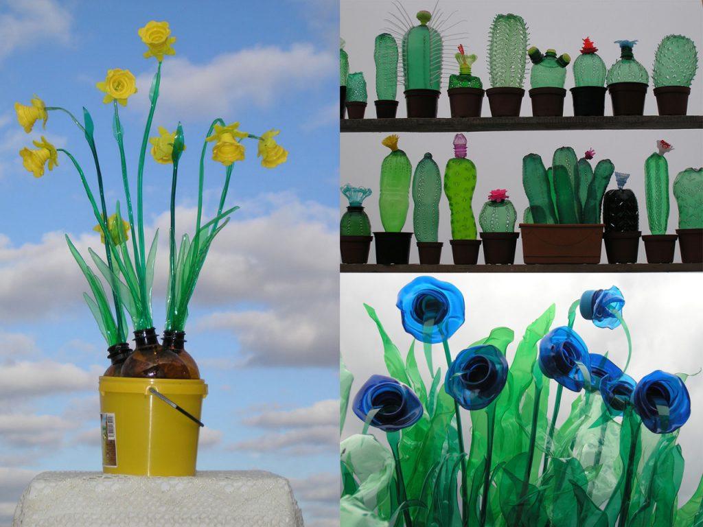plantas decorativas hechas con botellas de plástico