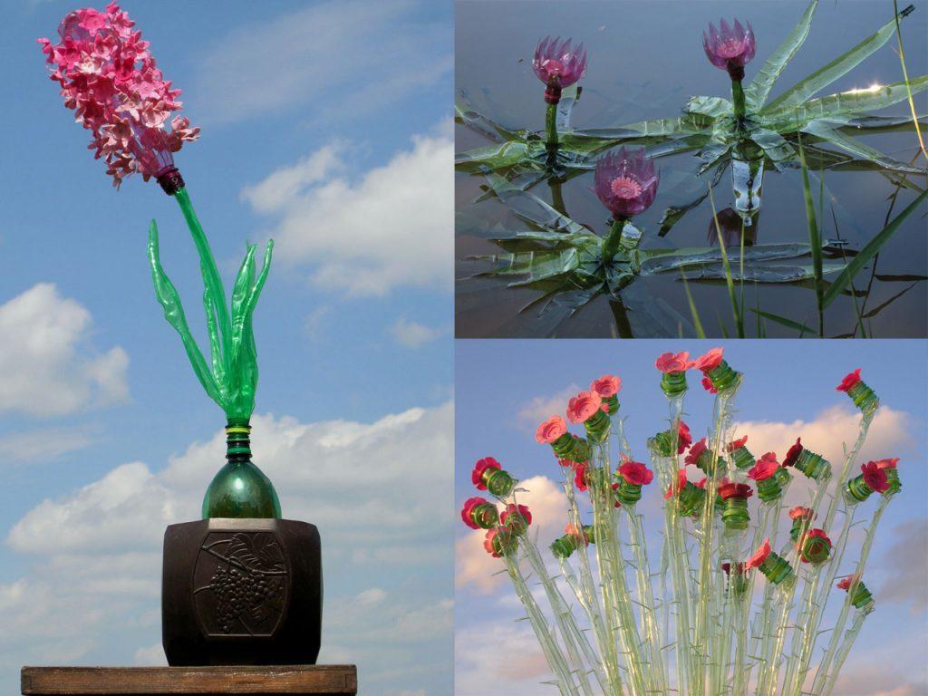 plantas con botellas de plástico recicladas