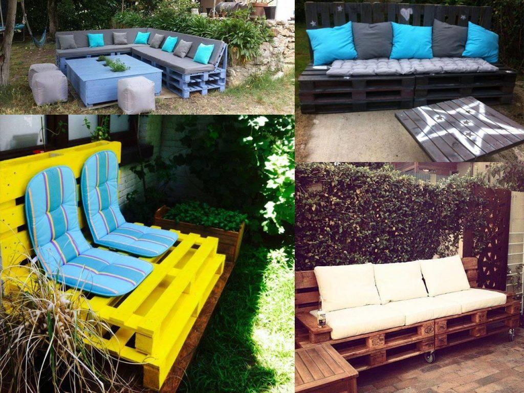 decoración de jardín con sofás de palets