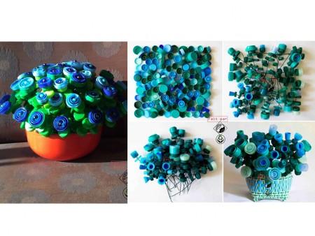 ramos de flores con tapones de plástico