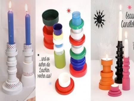 candelabros con tapones de plástico