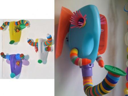 esculturas con tapones de plástico