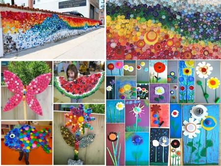 murales con tapones de plástico