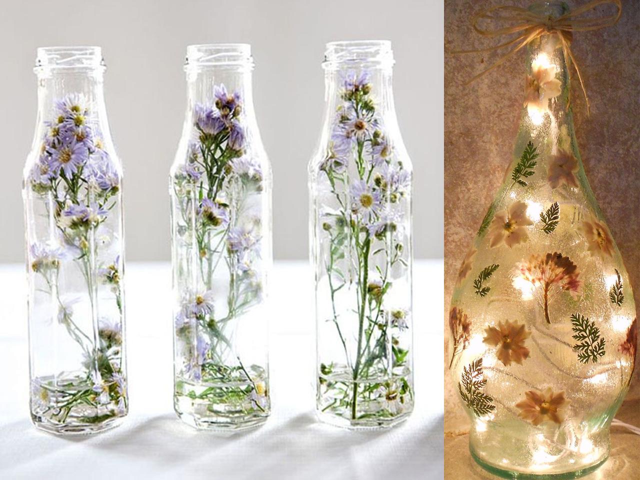 Como Decorar Una Botella De Vidrio Con Flores Secas
