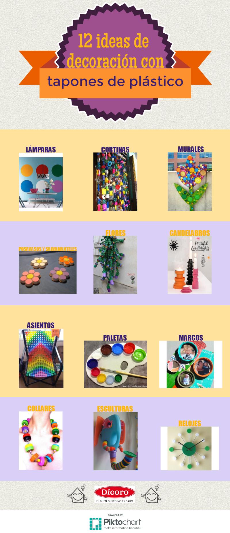 decoración con tapones de plástico