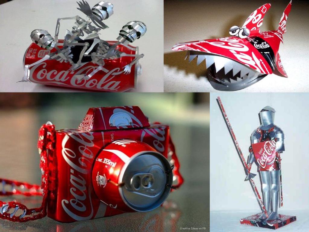 manualidades con latas de Coca-Cola figuras