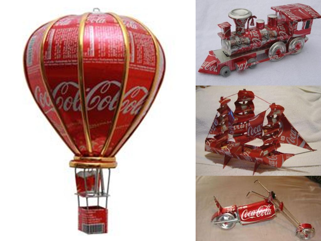 manualidades con latas de Coca-Cola transportes