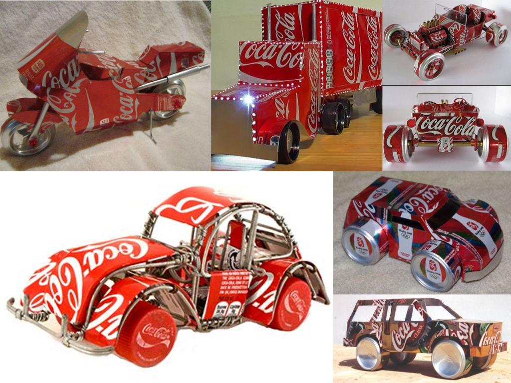 manualidades con latas de Coca-Cola coches