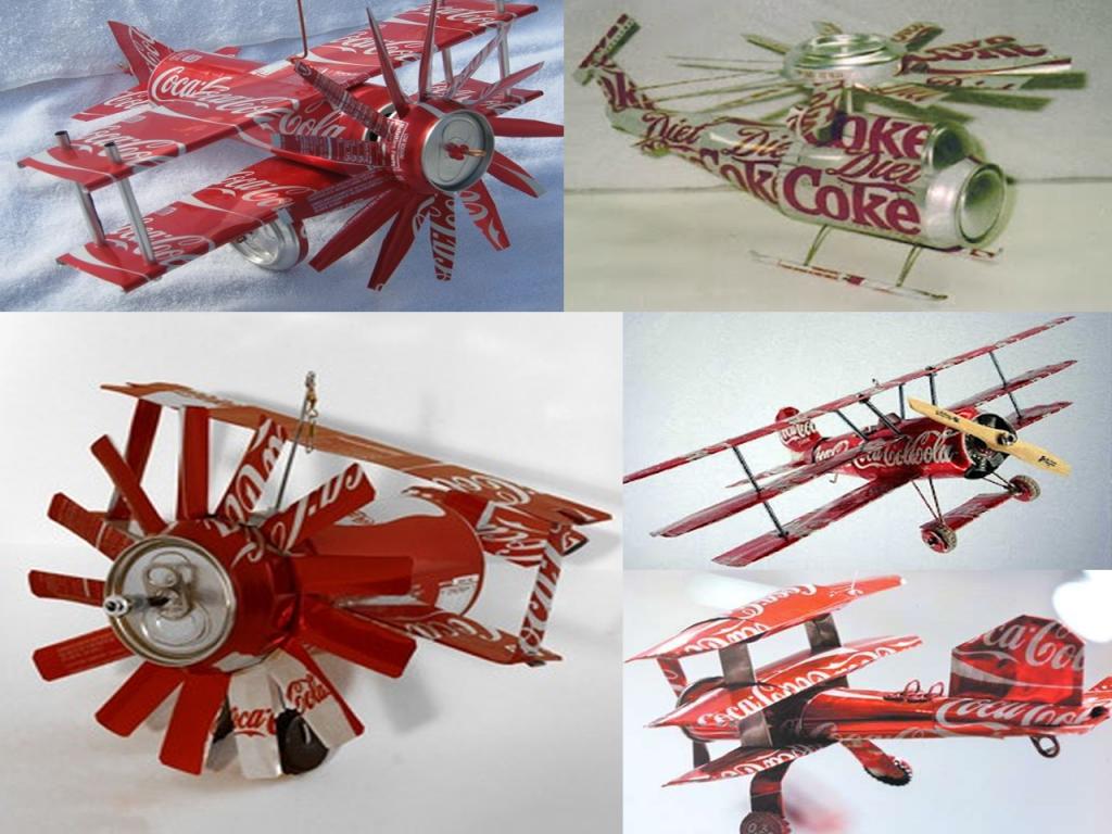 manualidades con latas de Coca-Cola aviones