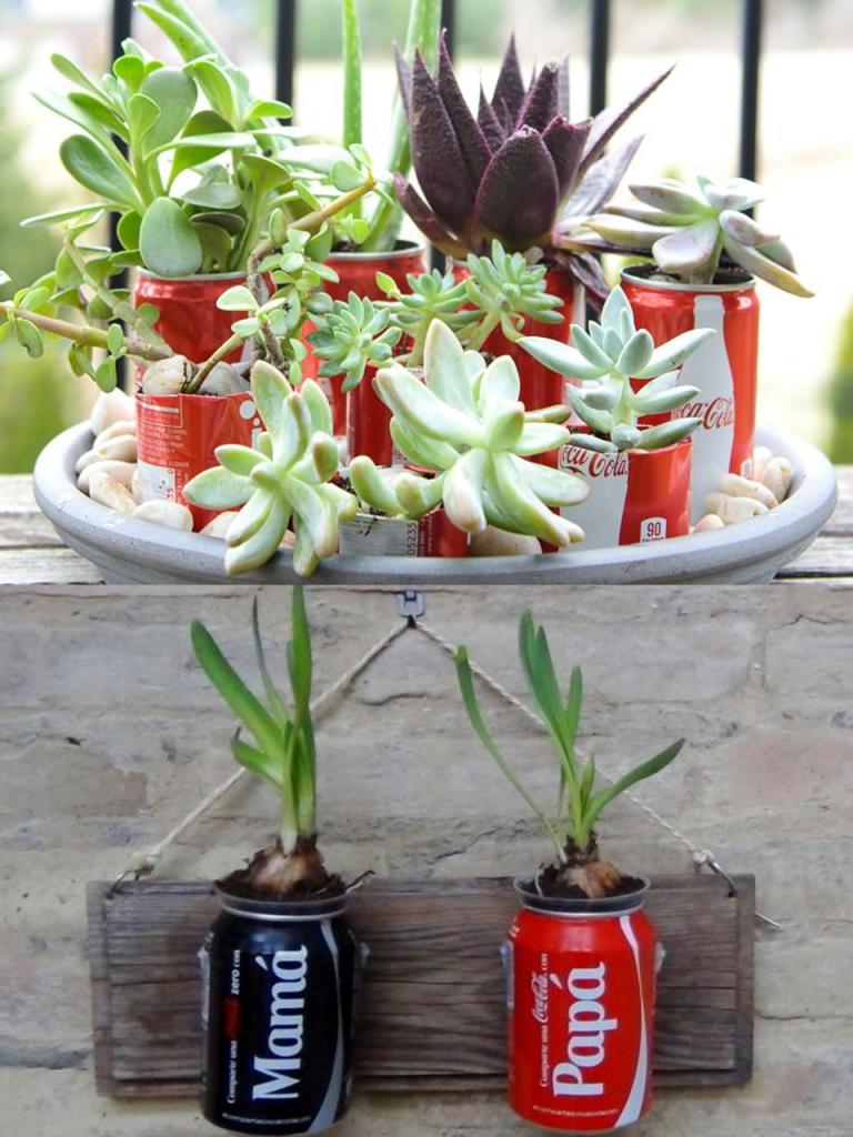 manualidades con latas de Coca-Cola macetas