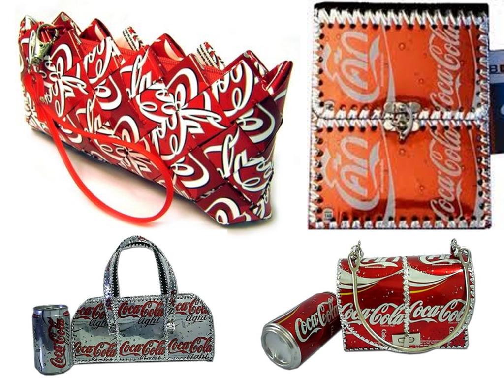 manualidades con latas de Coca-Cola bolsos