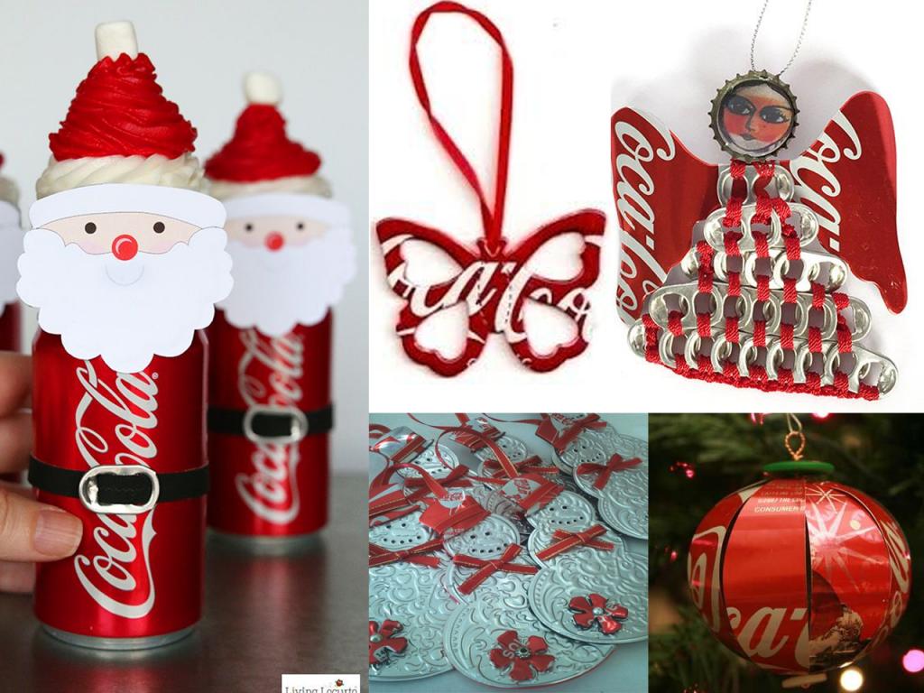 manualidades con latas de Coca-Cola navidad 2