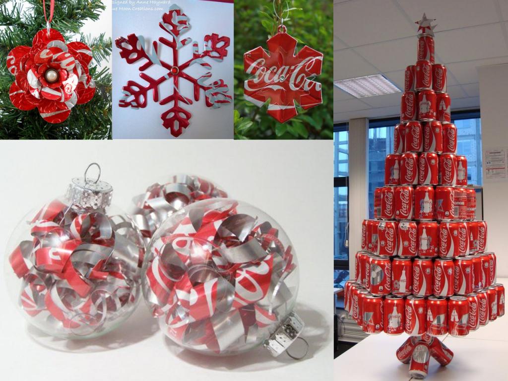 manualidades con latas de Coca-Cola árbol