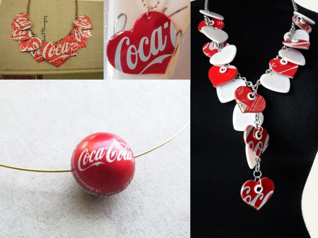 manualidades con latas de Coca-Cola colgantes