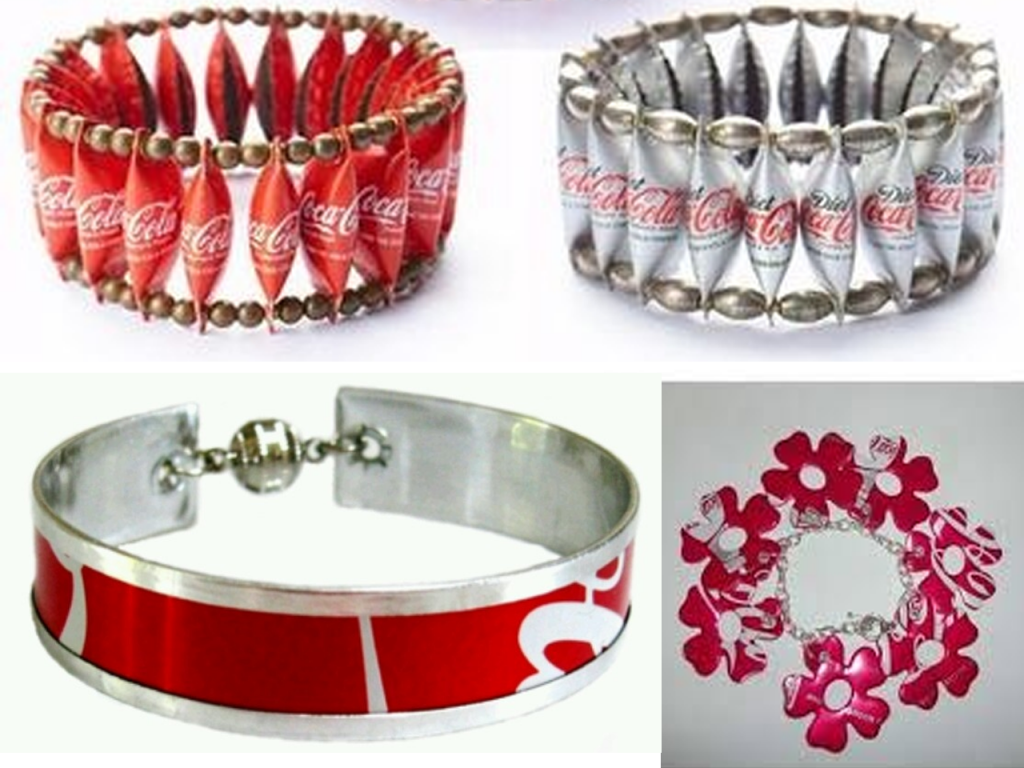 manualidades con latas de Coca-Cola pulseras