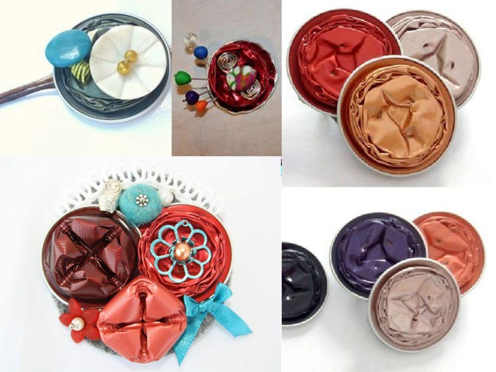 broches abstractos con cápsulas de café nespresso