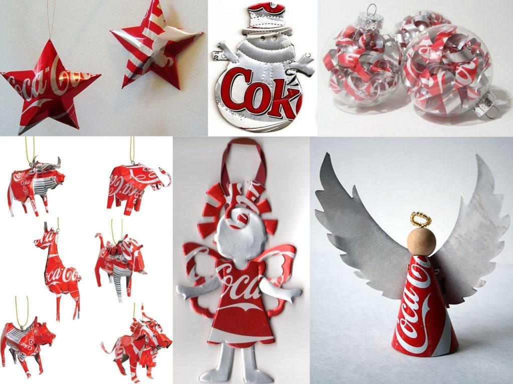 adronos de navidad con latas de refresco