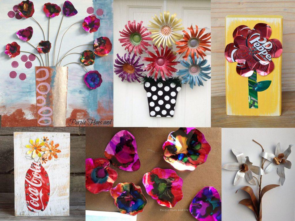 hacer flores con latas de refresco