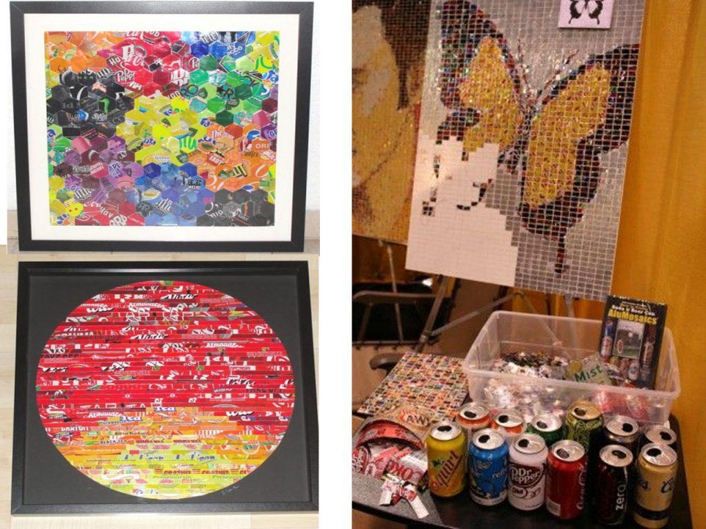 mosaico con latas de refresco