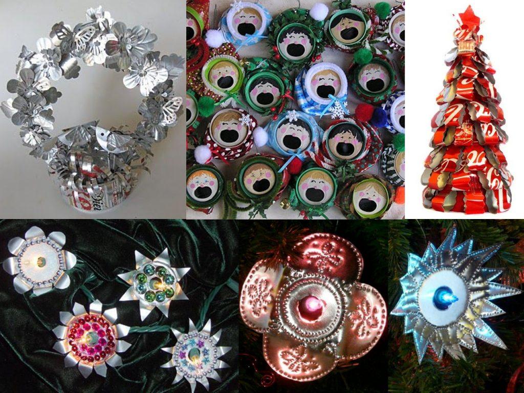decoración navideña con latas de refresco