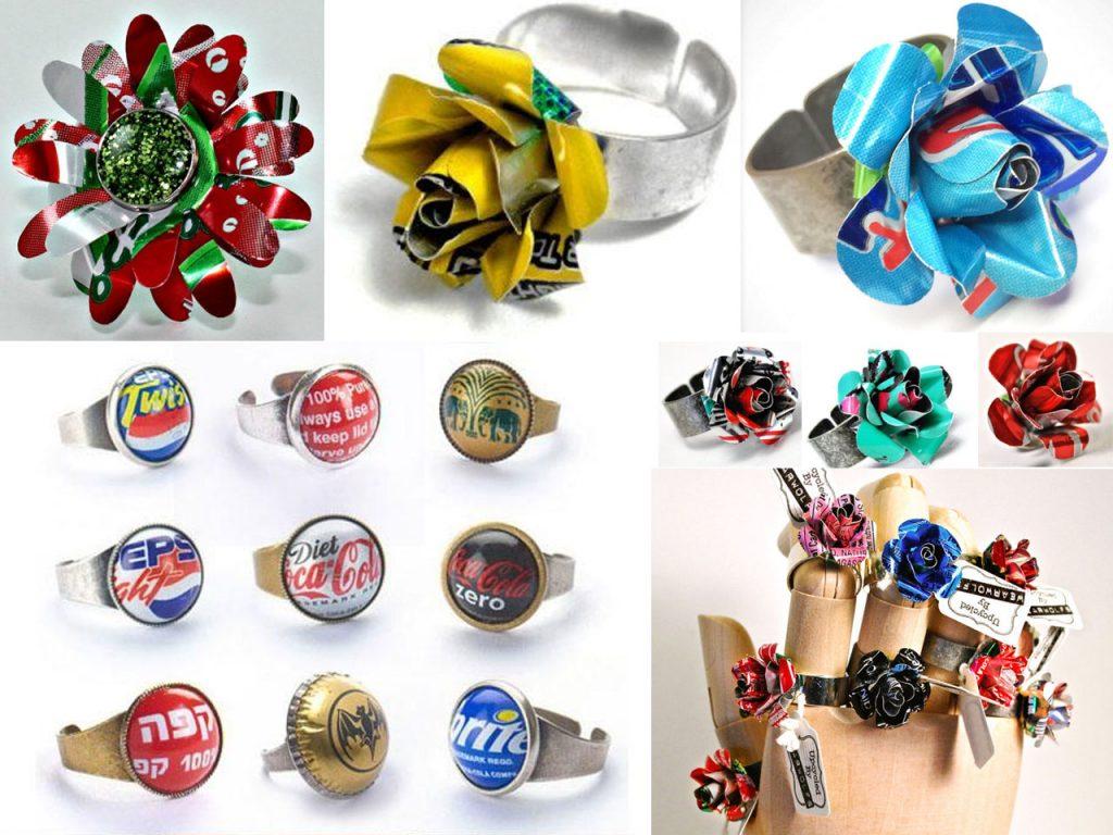 anillos con latas de refresco