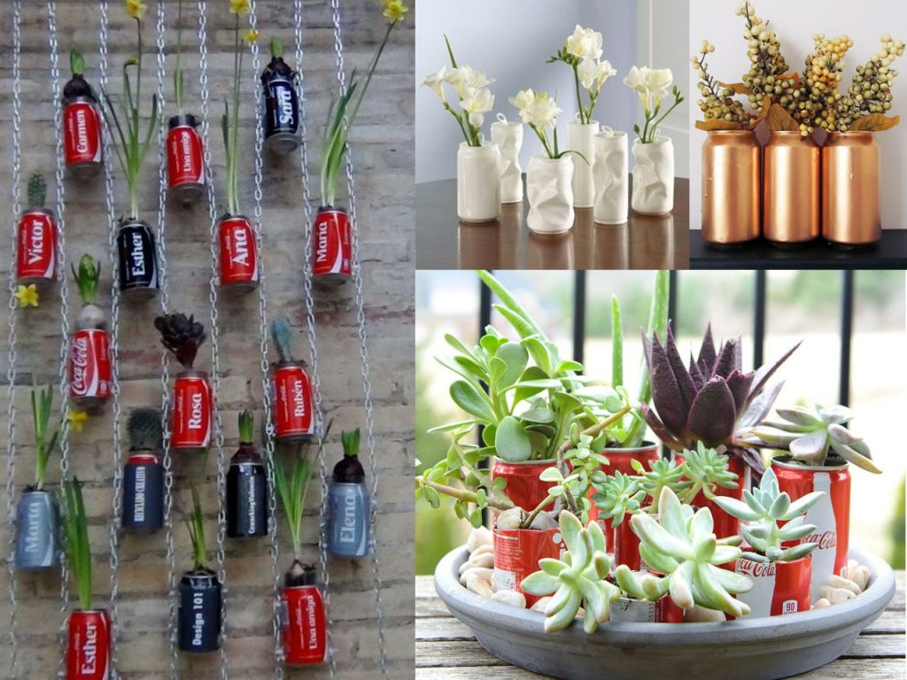 jardines verticales con latas de refresco