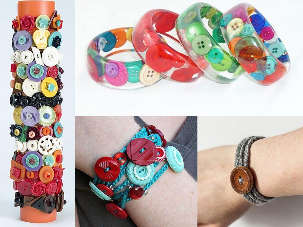 hacer pulseras con botones de colores