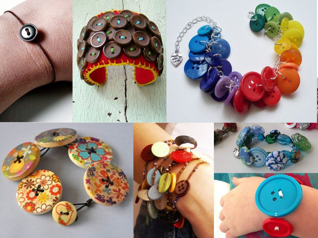 pulseras con botones de colores