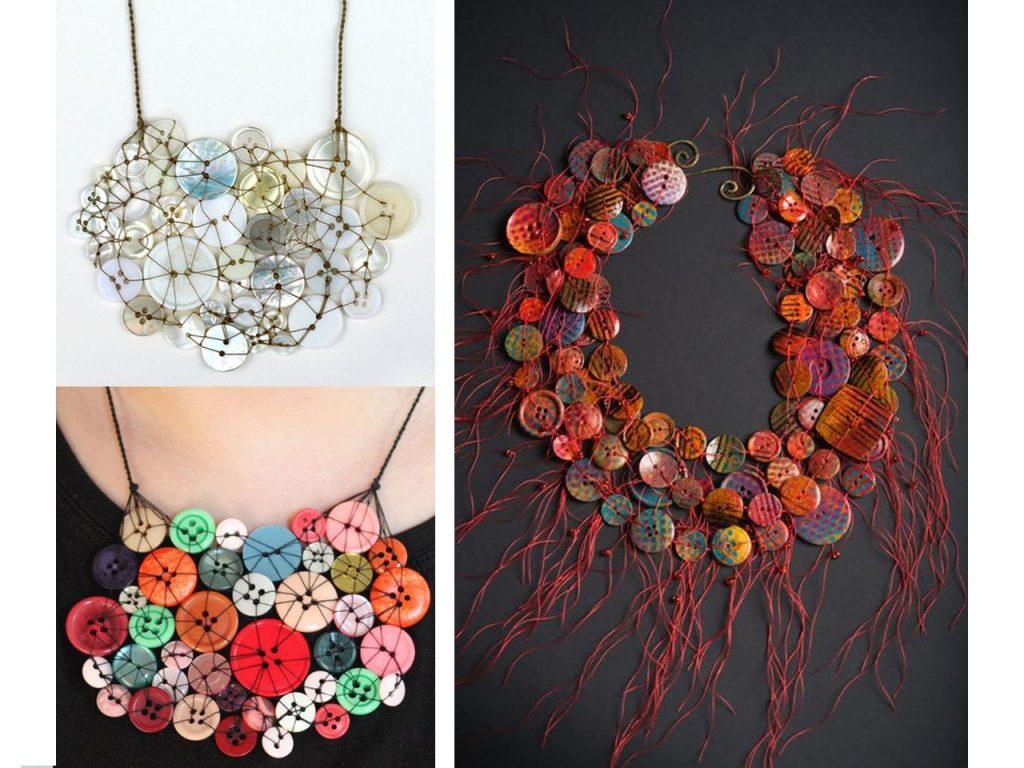 collares hechos con botones de colores