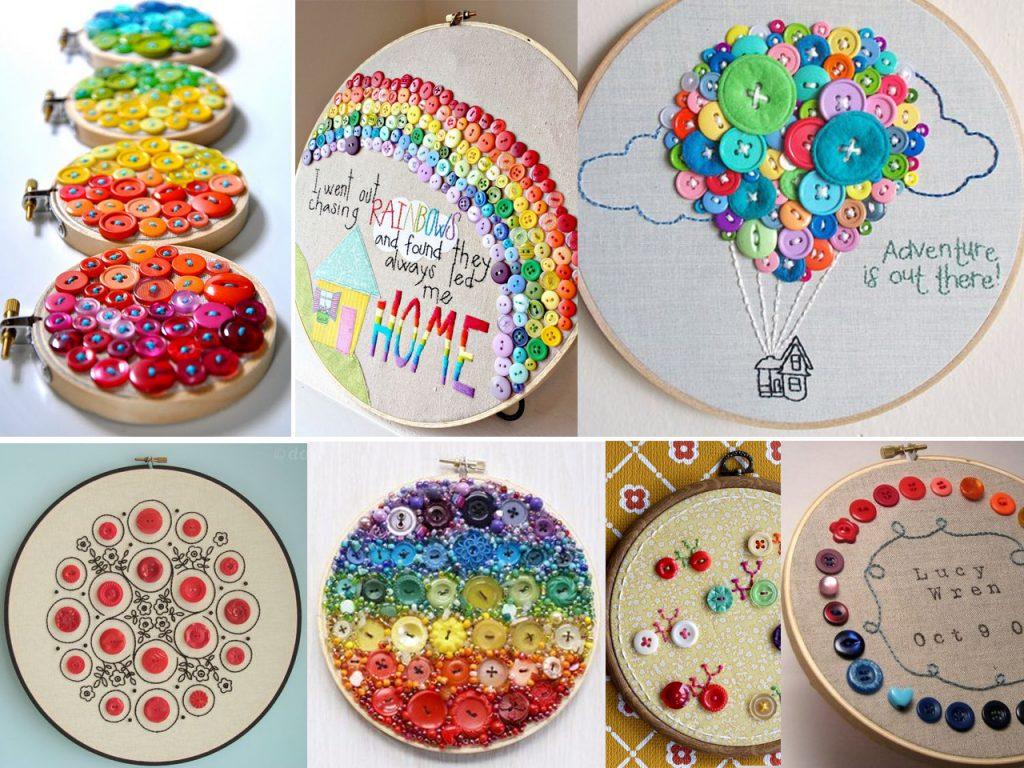 hacer bordados con botones