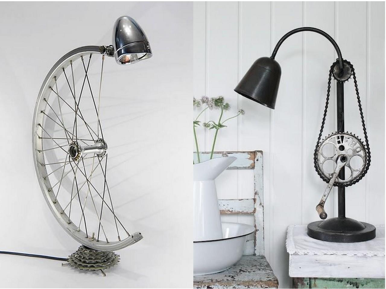 7 originales ideas para reciclar bicicletas - Lamparas de mesa recicladas ...