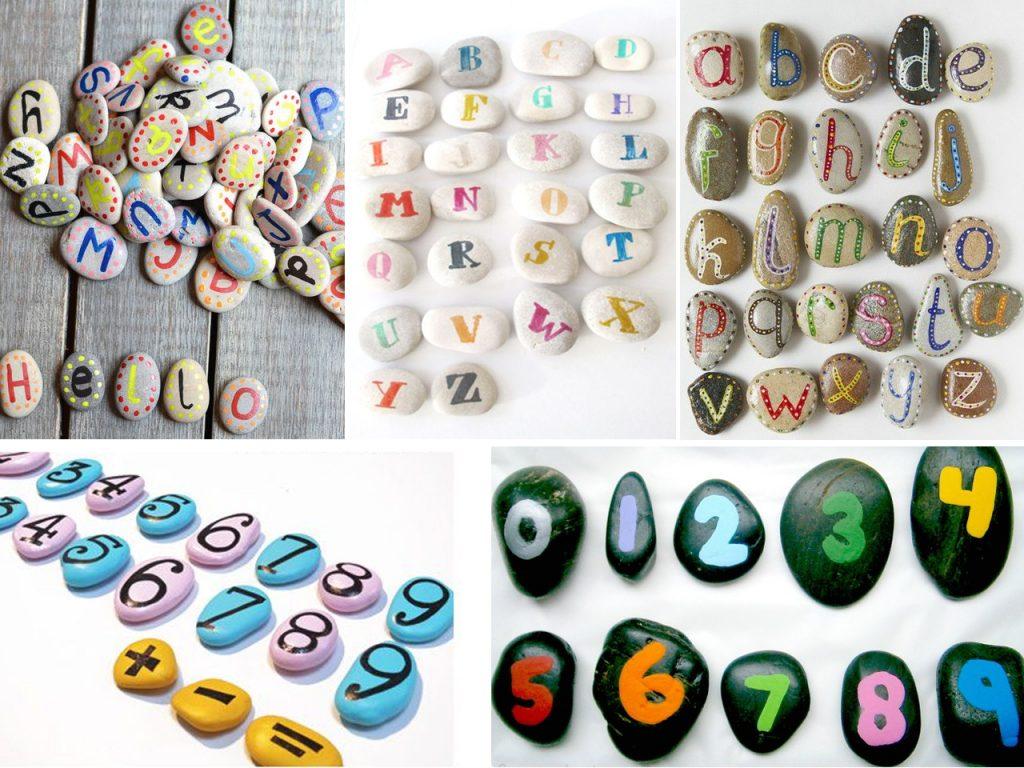 abecedario con piedras pintadas