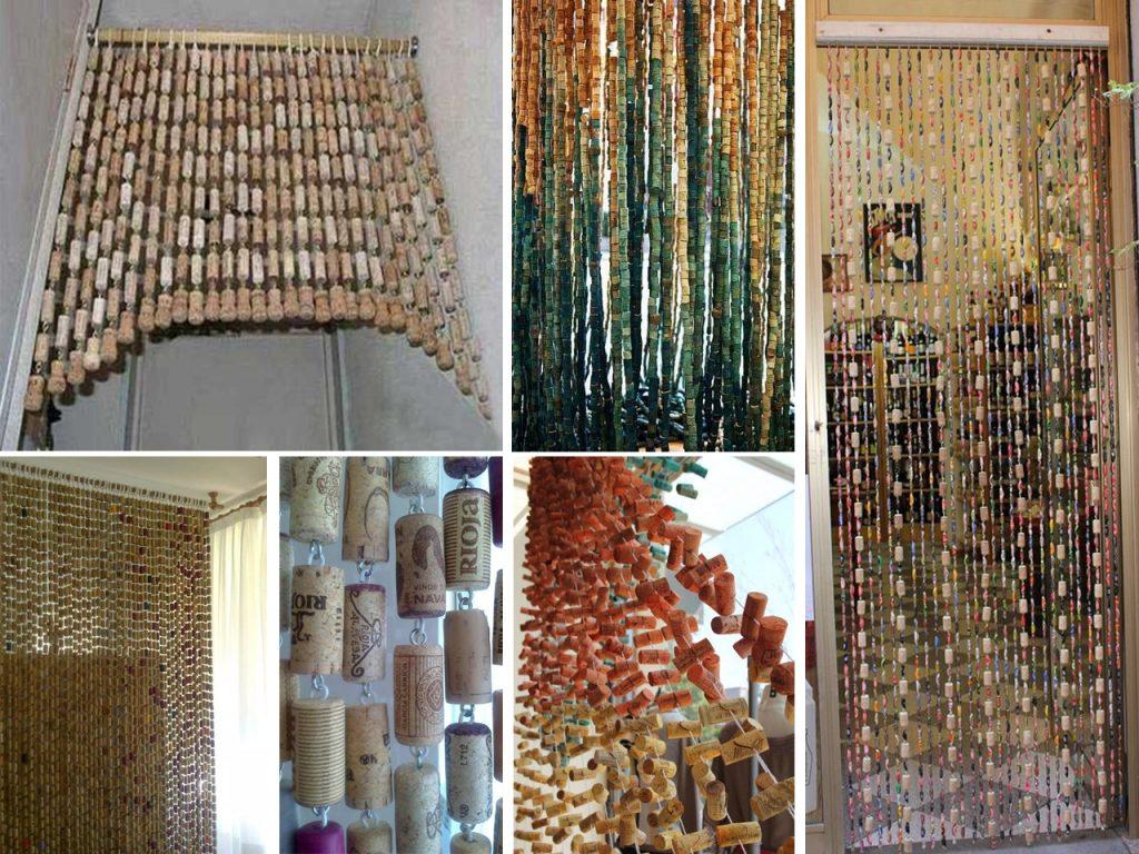 cortinas con tapones de corchos
