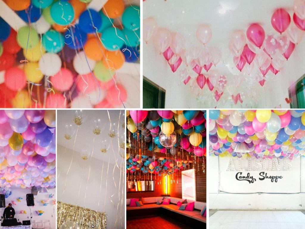 cómo decorar con globos el techo