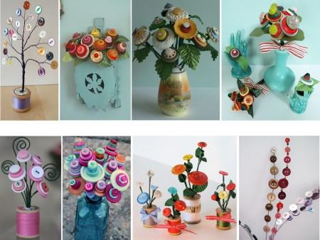 centros de mesa con flores y botones