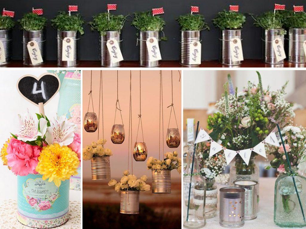 decoración para bodas con latas de aluminio