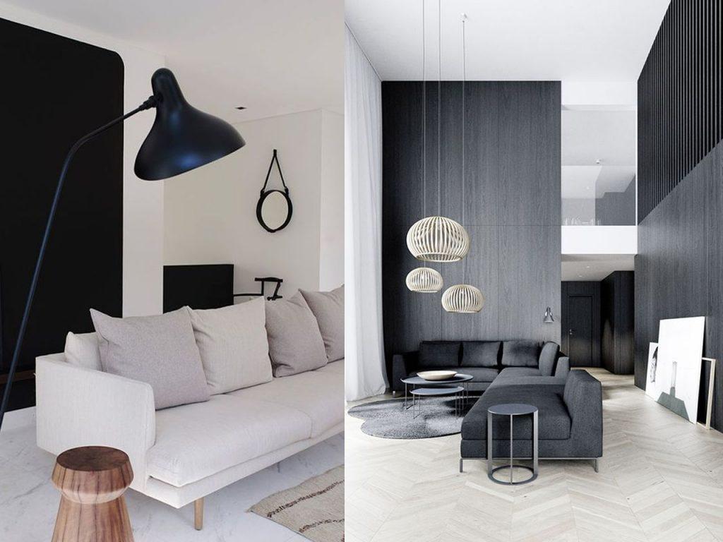 Decoraci n minimalista para el sal n de tu casa - Salones en blanco y negro ...