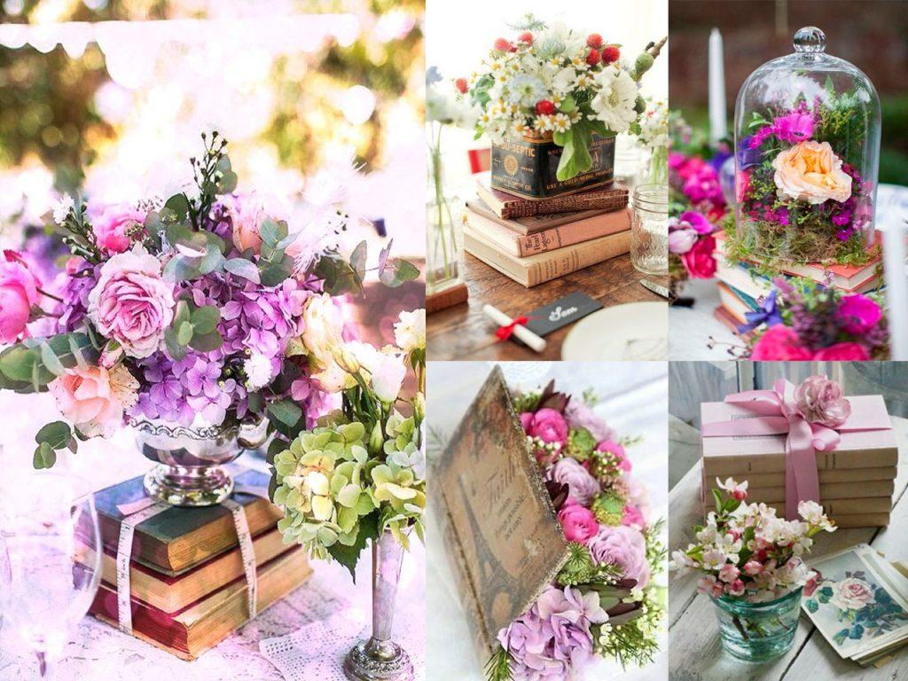 centros de mesa con libros y flores