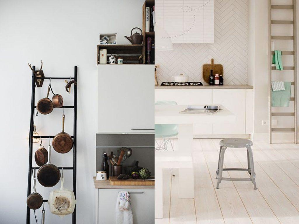 10 formas de reciclar escaleras de madera for Escalera de cocina