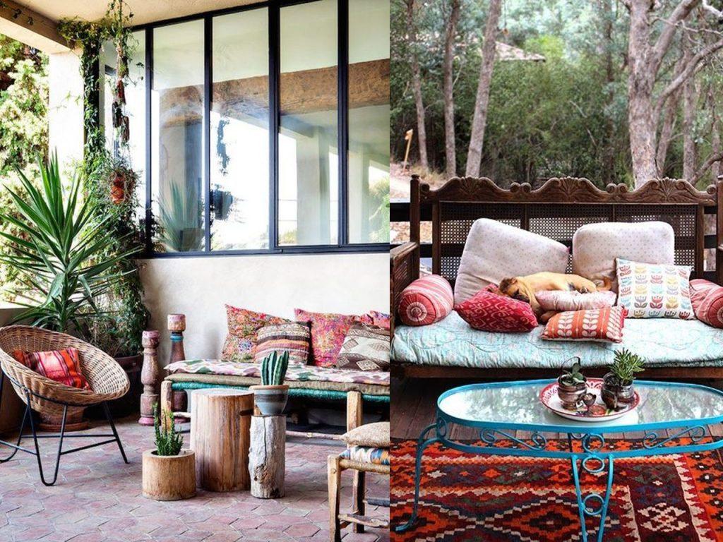 muebles de mimbre en la decoración de terrazas modernas