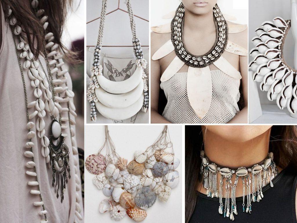 cadenas con conchas de mar