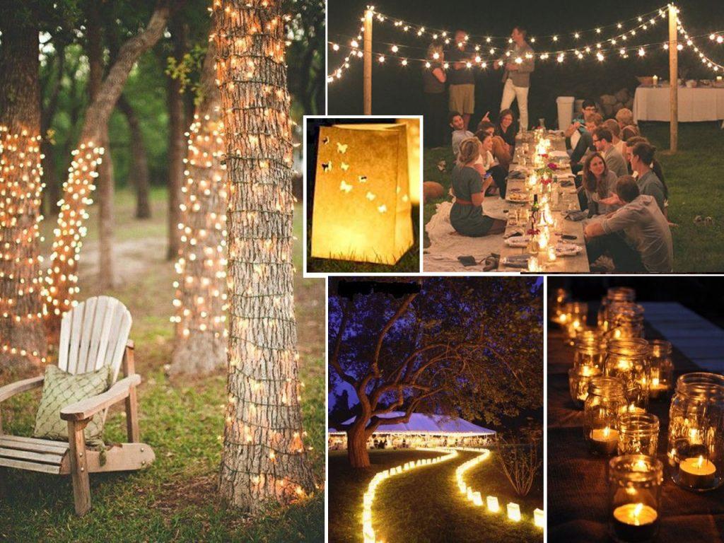 iluminar fiestas al aire libre