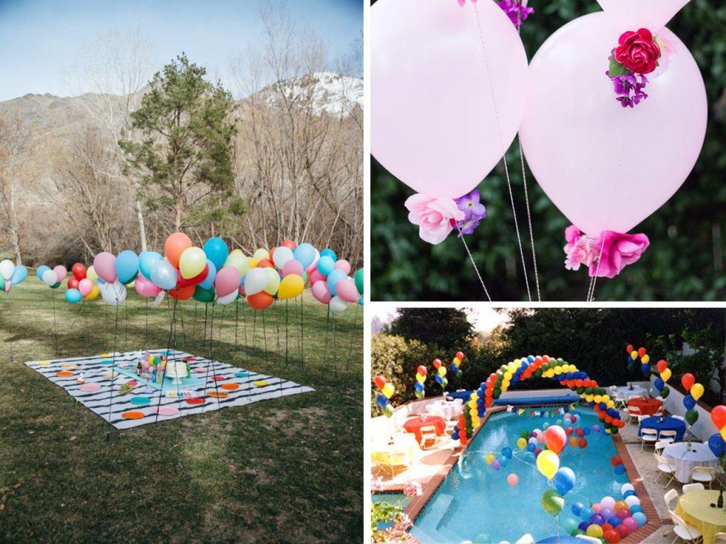 fiestas al aire libre con globos