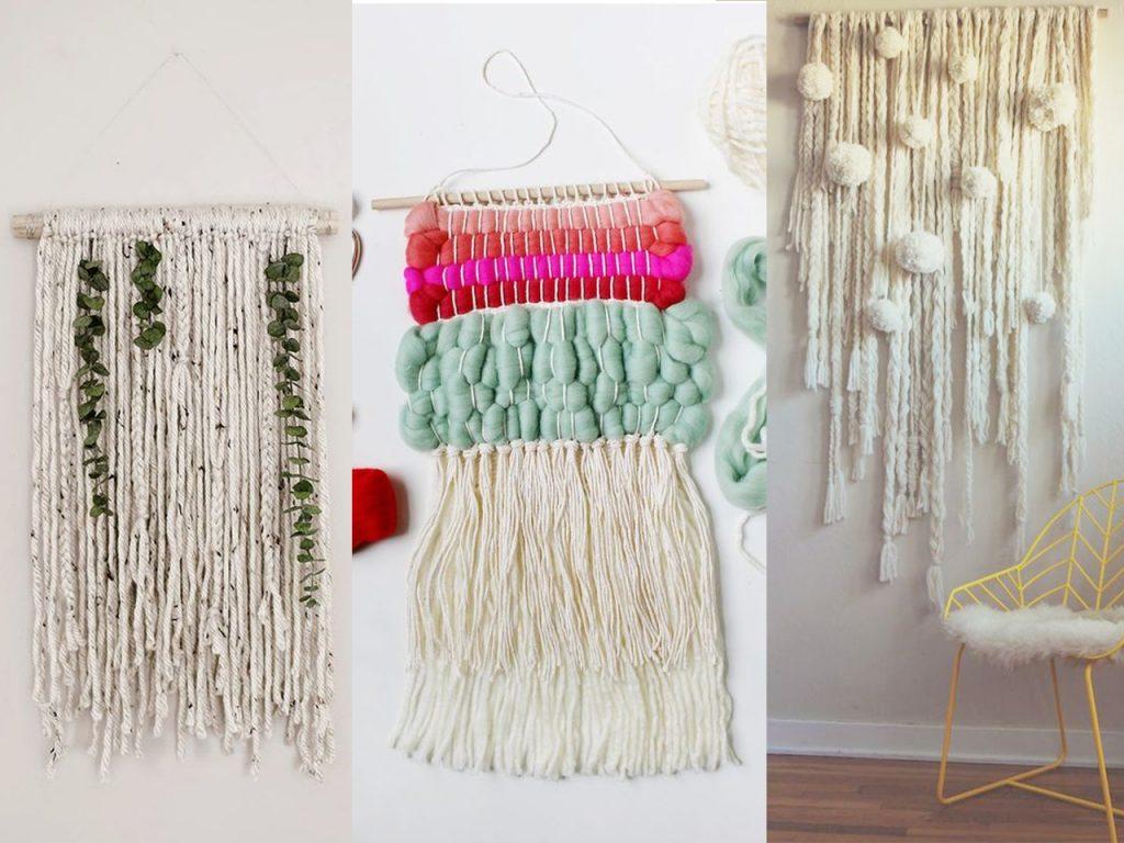 decorar con lana DIY tapiz