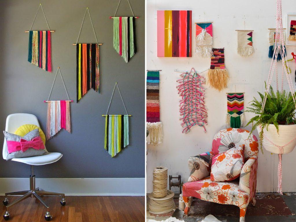 tapiz en pared decorar con lana